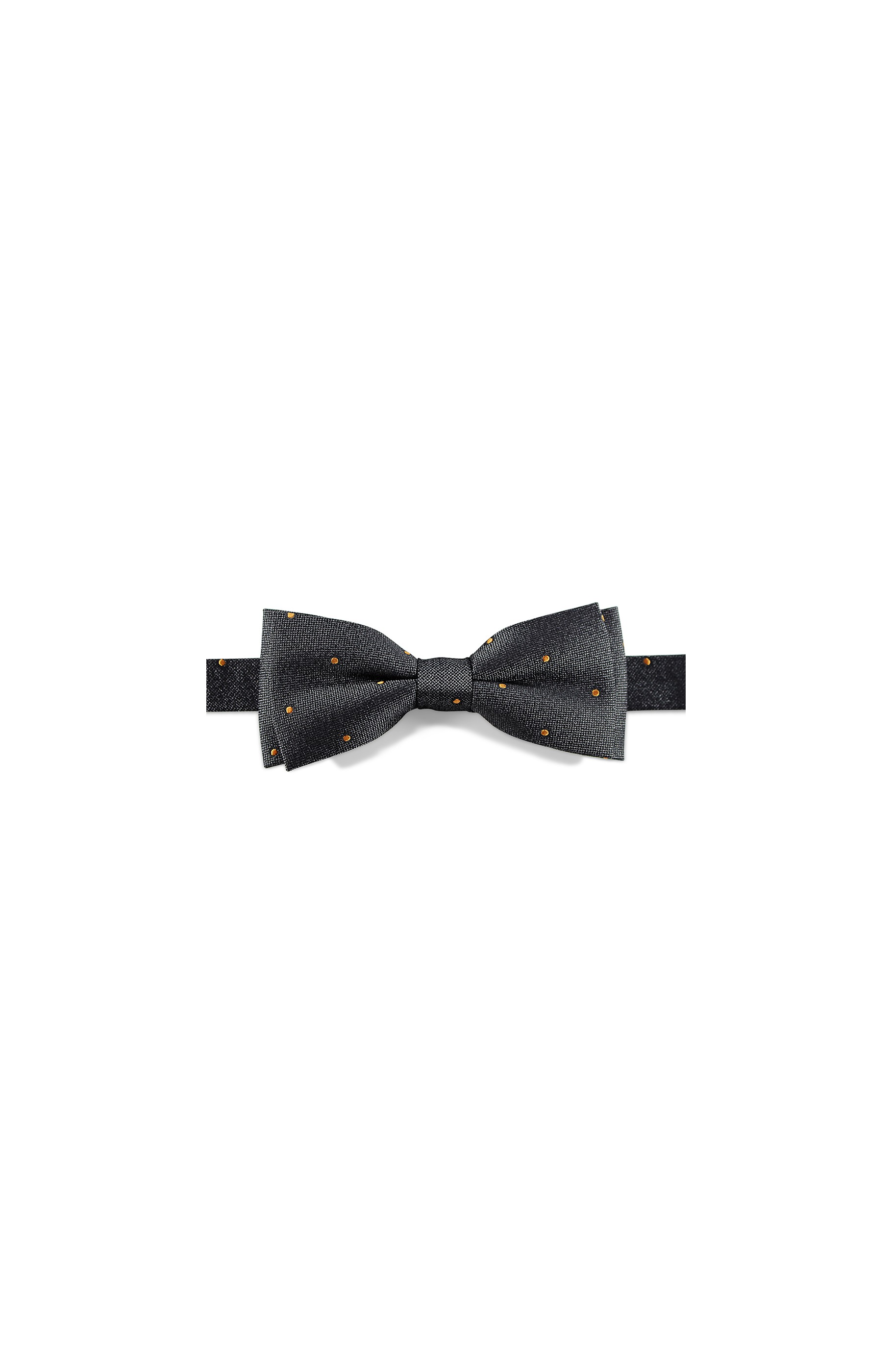 Majesté Couture Paris: Grey silk bow tie with gold dots | Accessories,Accessories > Bow ties -  Hiphunters Shop