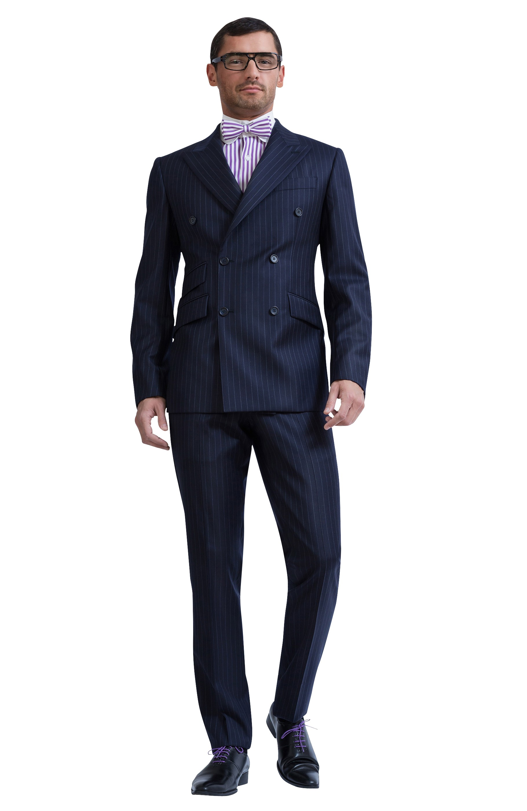 NAVY BLUE DOUBLE-BREASTED WOVEN WOOL SUIT Majesté Couture Paris